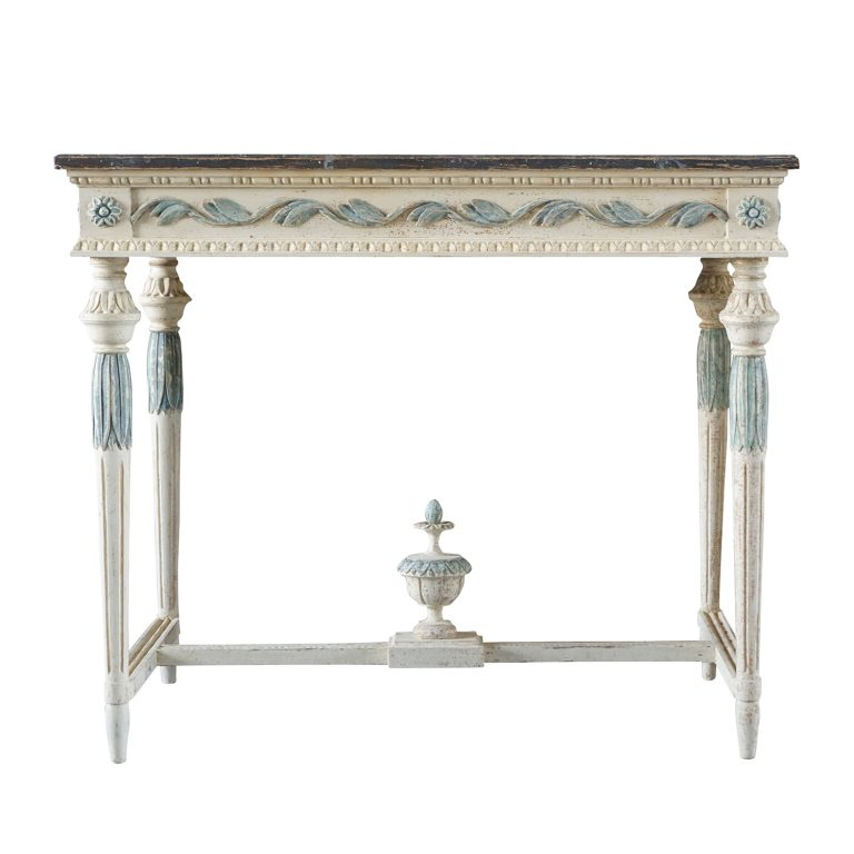19th Century Swedish Gustavian Console Table – Grey Neoclassical Pinewood Table