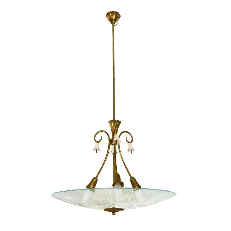 20th Century Fontanta Arte Italian Brass, Glass Chandelier by Pietro Chiesa