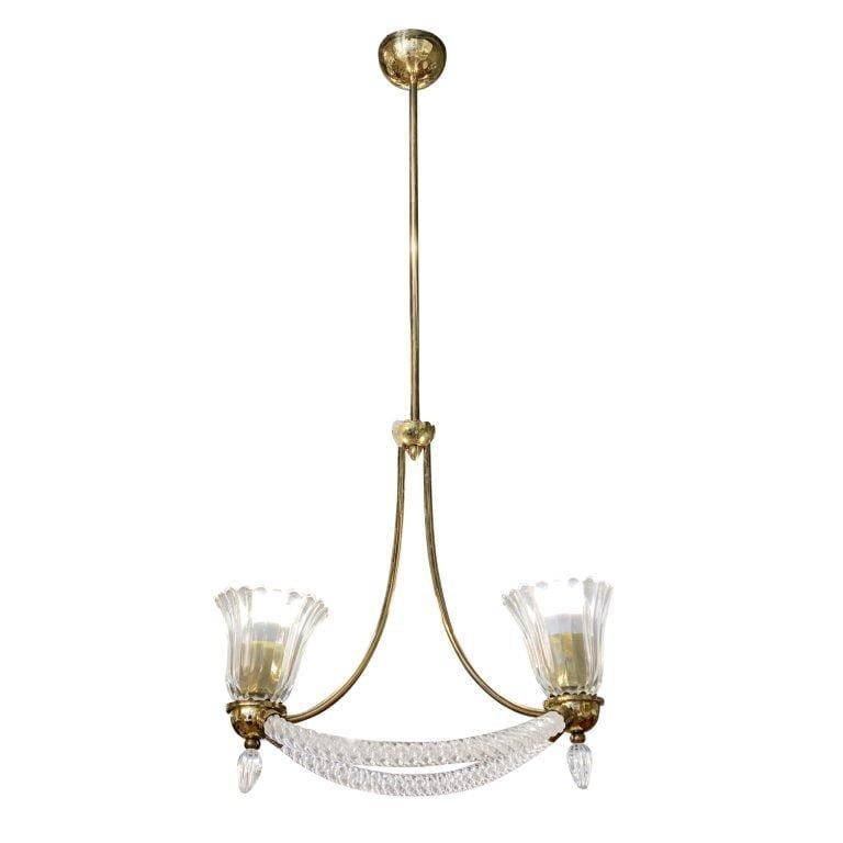 20th Century Italian Murano Glass Chandelier – Brass Pendant by Barovier & Toso