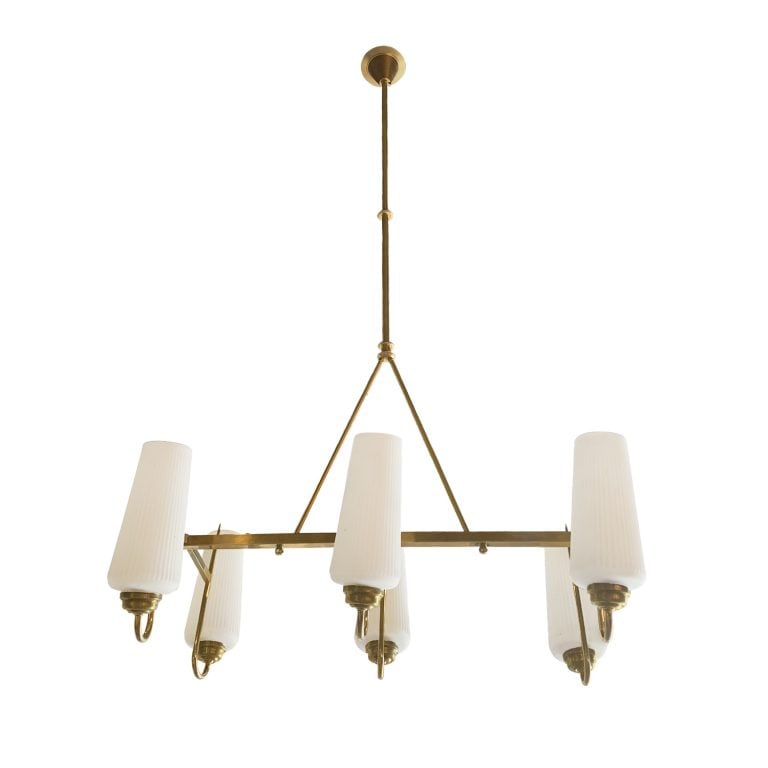 20th Century Italian Brass, Opaline Glass Chandelier by Stilnovo
