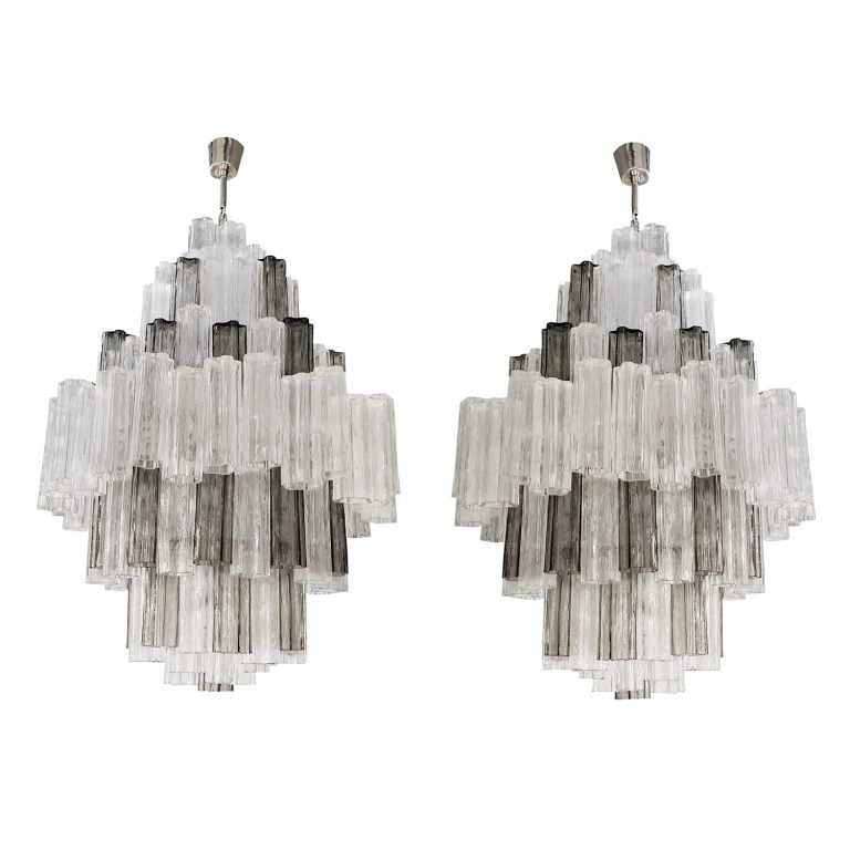 Pair of Eight Tiered Murano Chandeliers by Paolo Venini & Toni Zucceri
