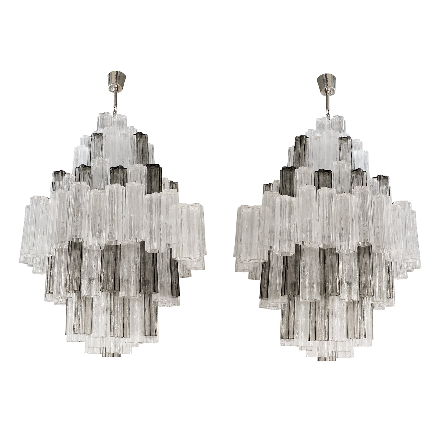 20th Century Italian Pair of Eight Tiered Murano Glass Chandeliers by Paolo Venini & Toni Zucceri