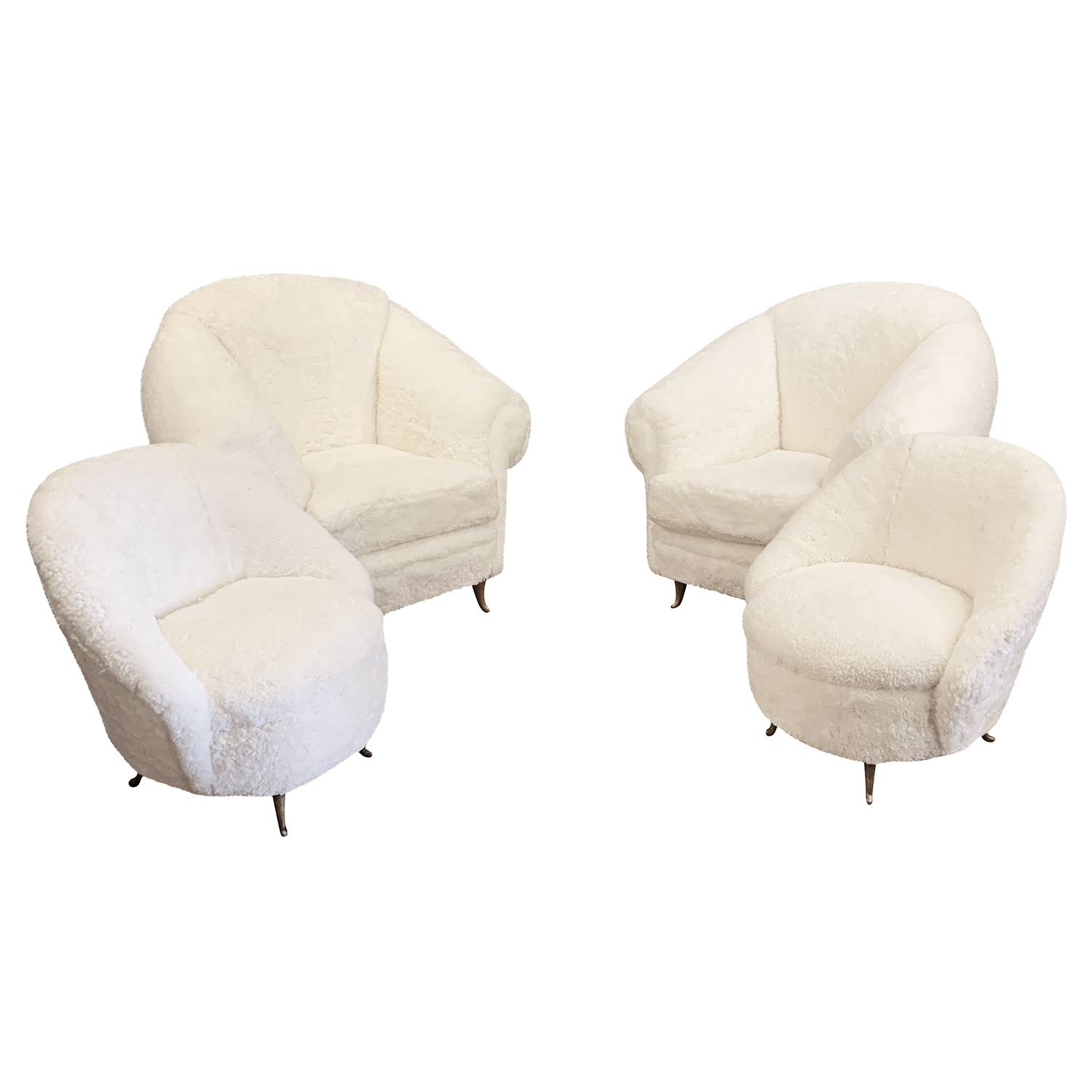 20th Century Italian Set of Four White Sheepskin Lounge Chairs by ISA Bergamo