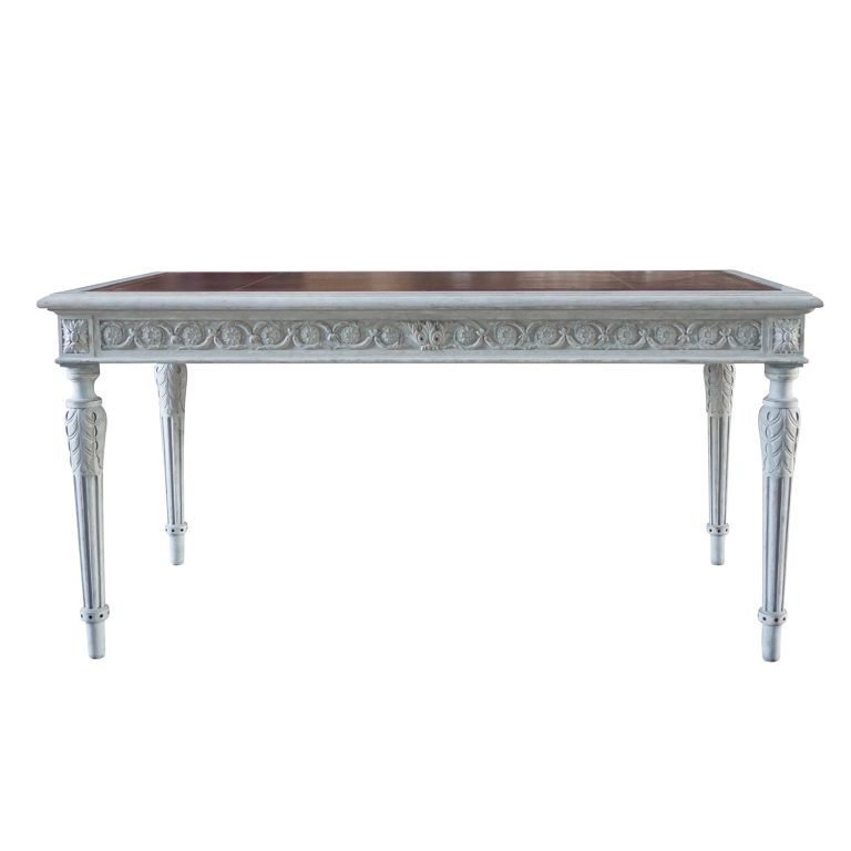 19th Century Swedish Gustavian Writing Desk – Neoclassical Grey Pinewood Table