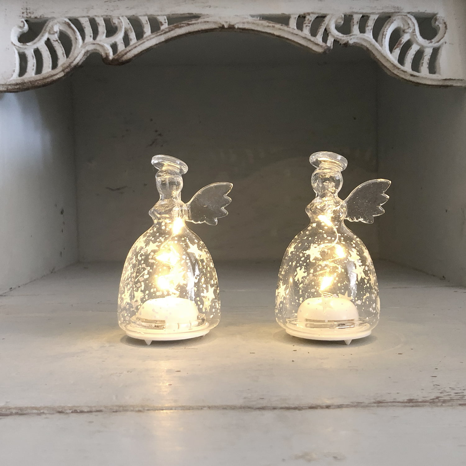 Pair of Inge Romantic Small Glass Angels