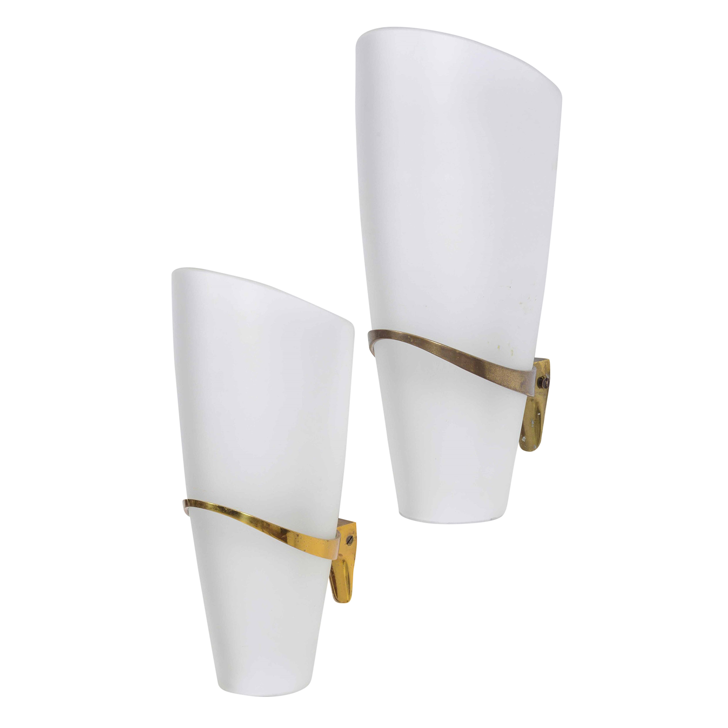 20th Century Italian Fontana Arte Pair of Brass Wall Sconces by Max Ingrand