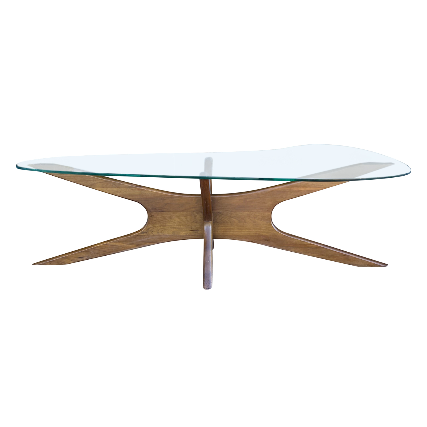 20th Century American Craft Associates Walnut Glass Coffee Table by Adrian Pearsall