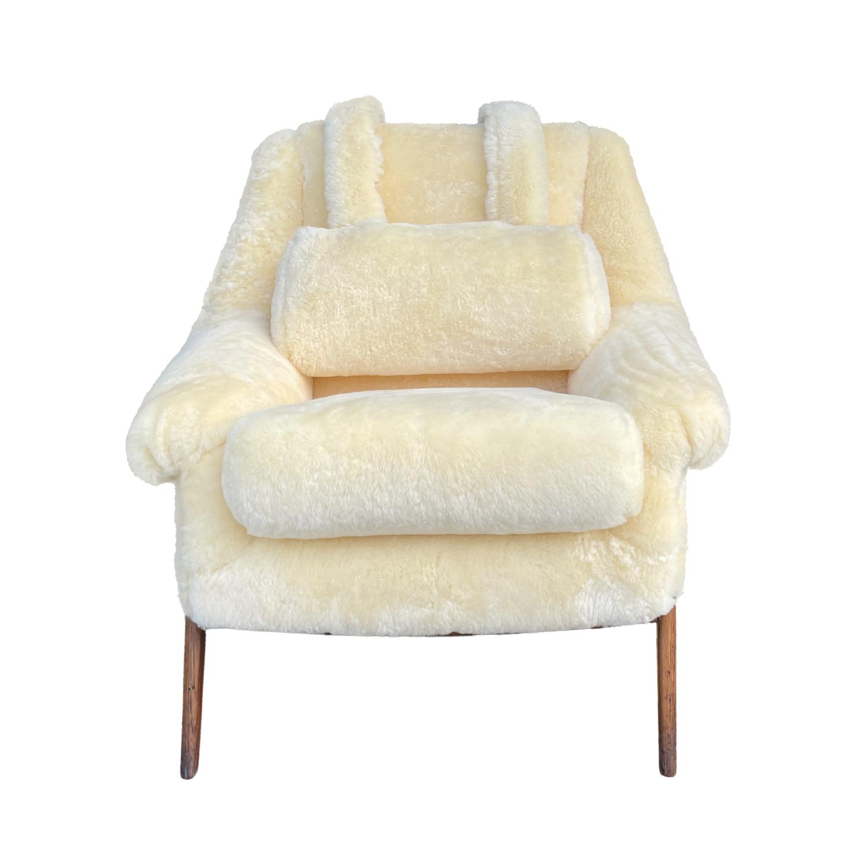 20th Century Swedish Yellow Sheepskin Lounge Chair – Walnut Side Chair