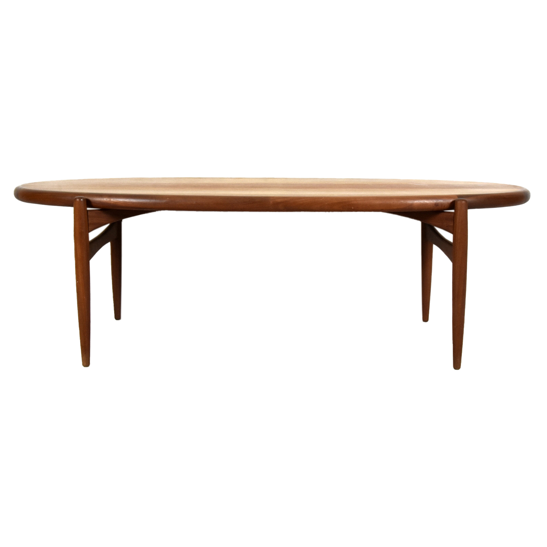 20th Century Danish Teakwood Oval Sofa Table