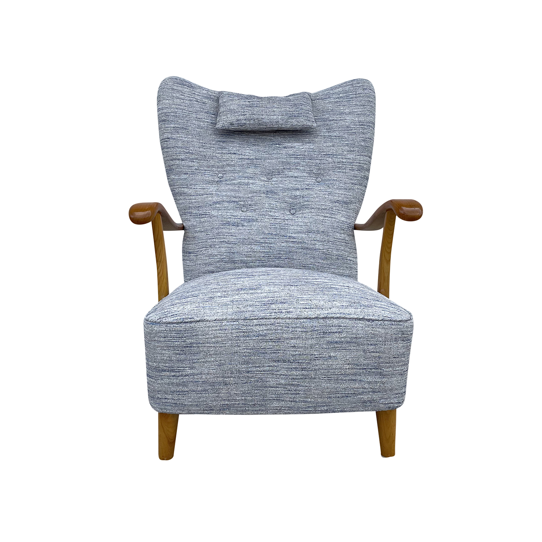 20th Century Light-Blue Danish Single Walnut Armchair – Grey Wooden Side Chair