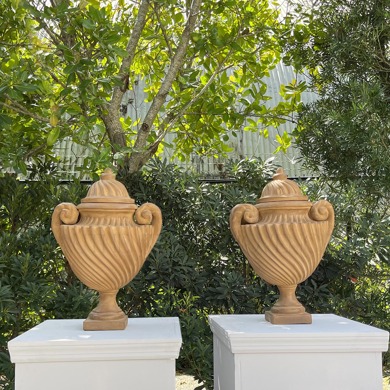 Twisted Roman Lidded Urns
