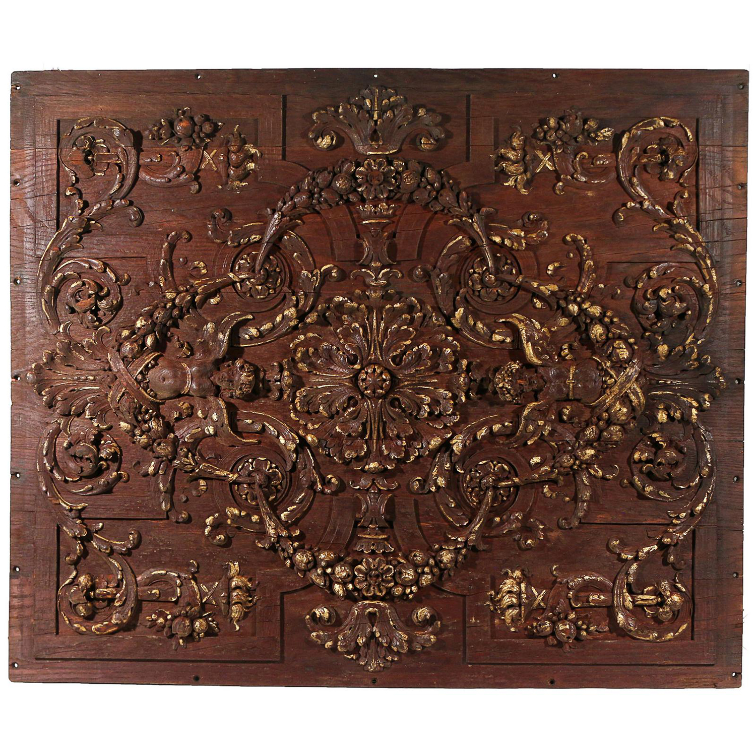 18th – 19th Century Italian Walnut Rococo Carved Ceiling Panel