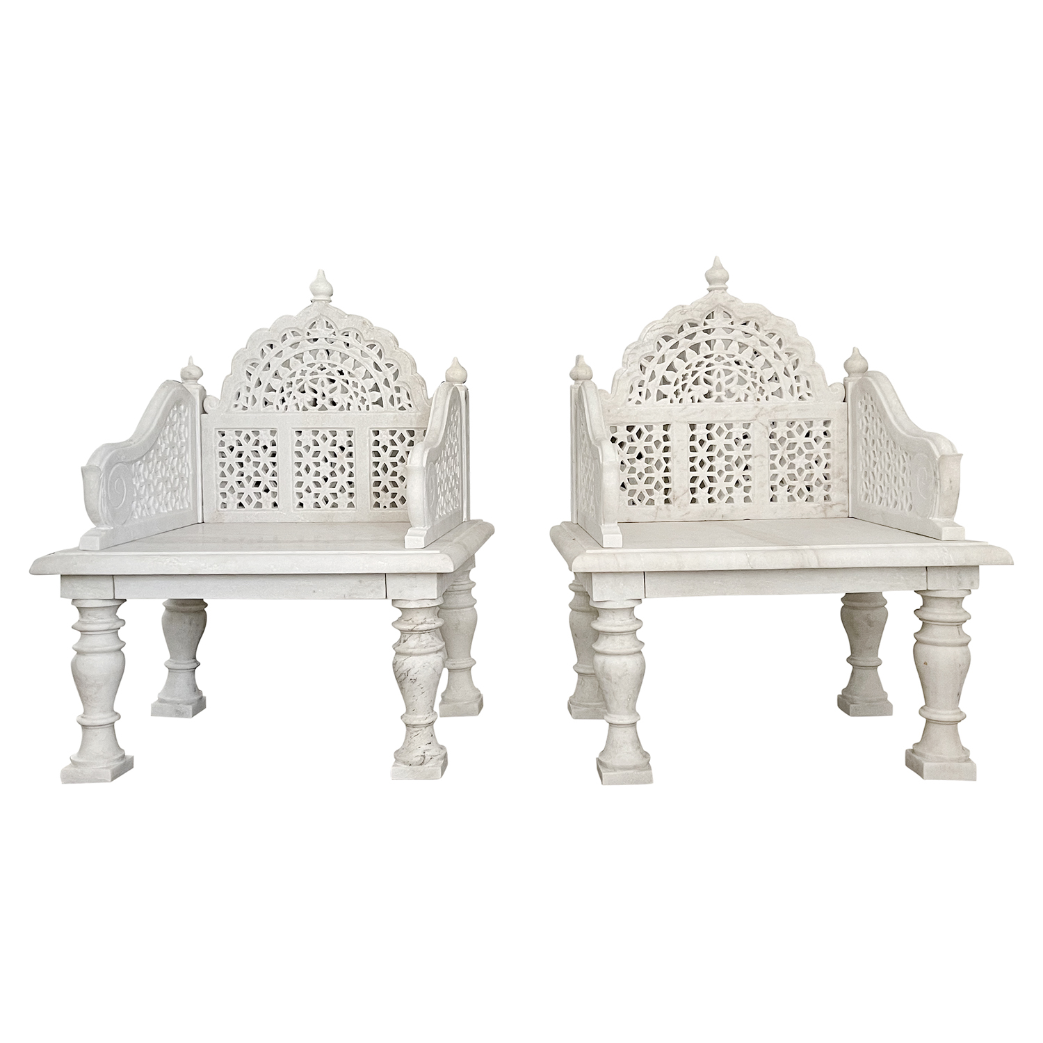 Pair of White Mughal Marble Seats