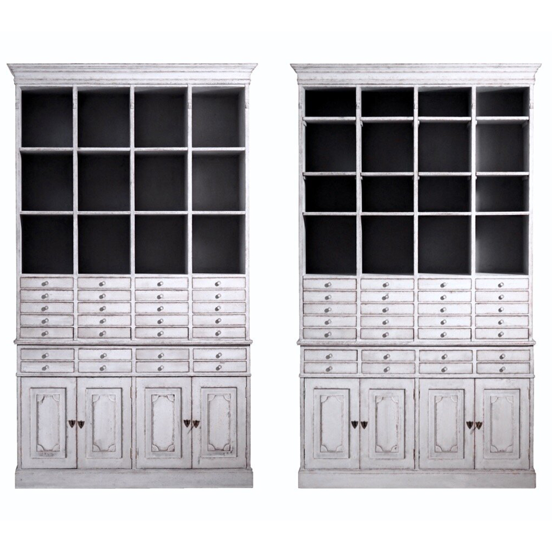 19th Century Light-Grey Swedish Gustavian Pair of Oakwood Apothecary Cabinets
