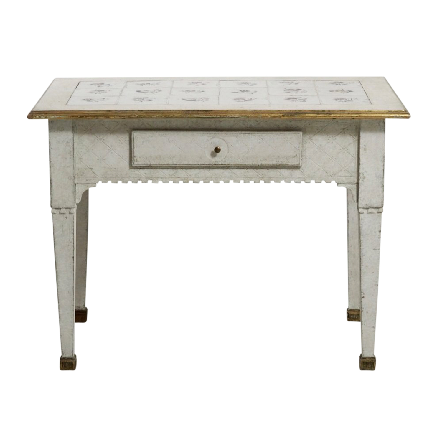18th – 19th Light-White Swedish Gustavian Tile Top Table – Small Pinewood Table