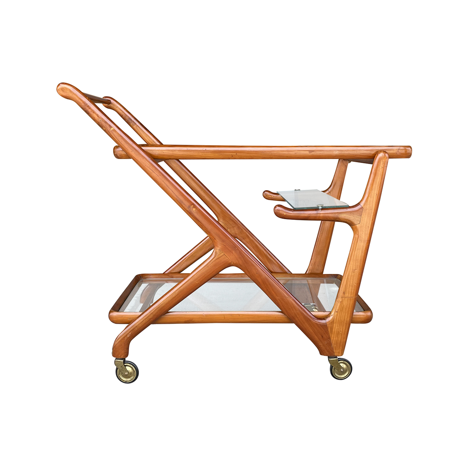 20th Century Italian Cassina Bar Cart – Serving Walnut Trolley by Cesare Lacca