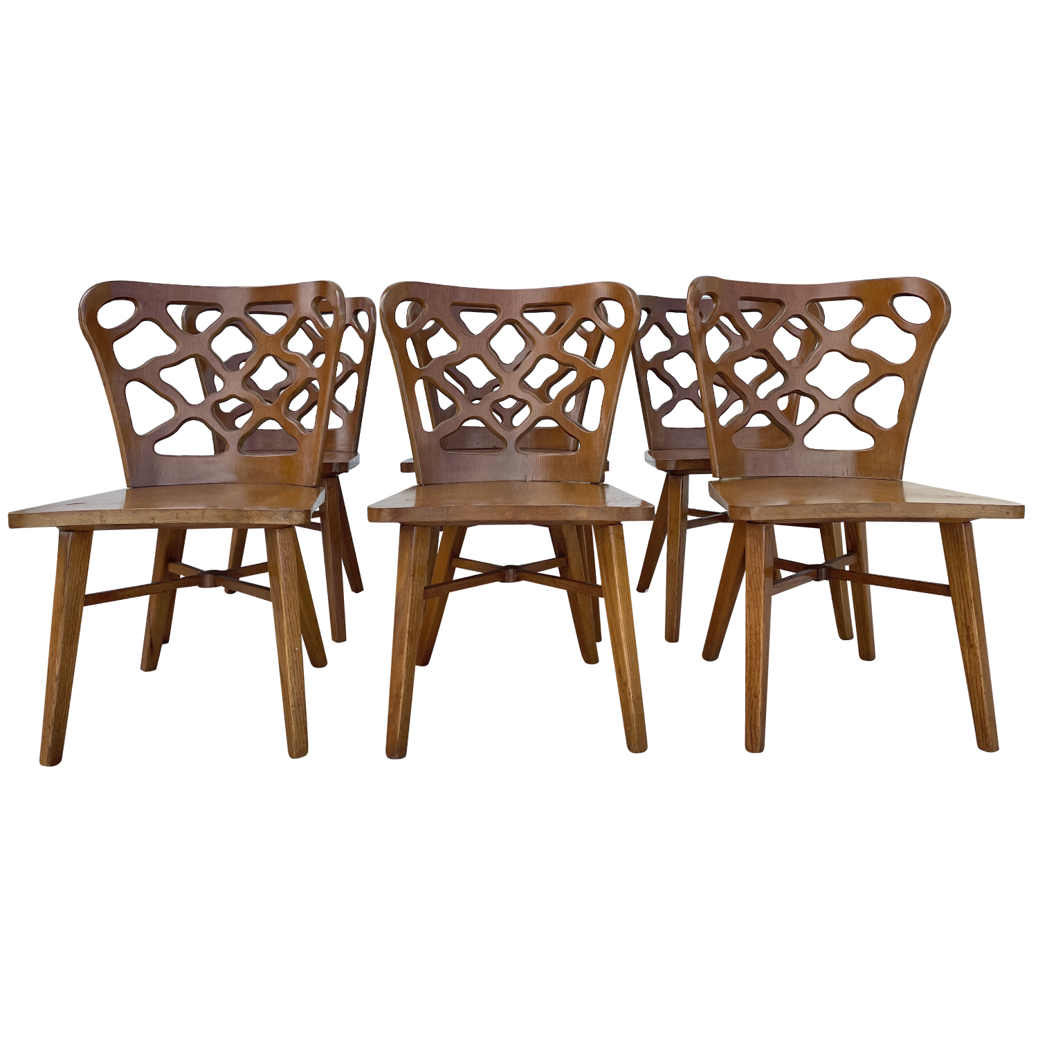 20th Century American Set of Six Oakwood, Bent Plywood Dining Chairs by RomWeber