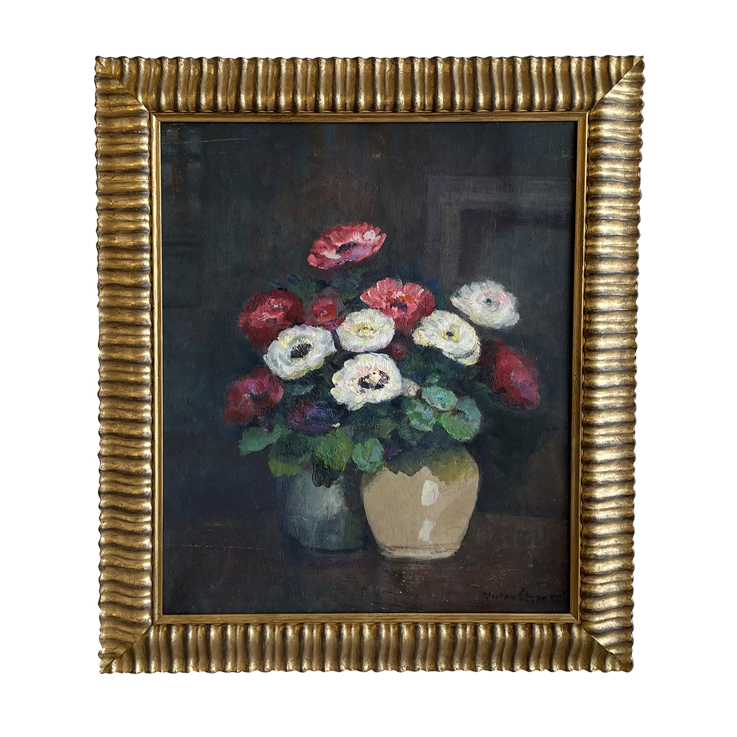 20th Century French Oil Painting of Vases with Anemones by Victor Charreton