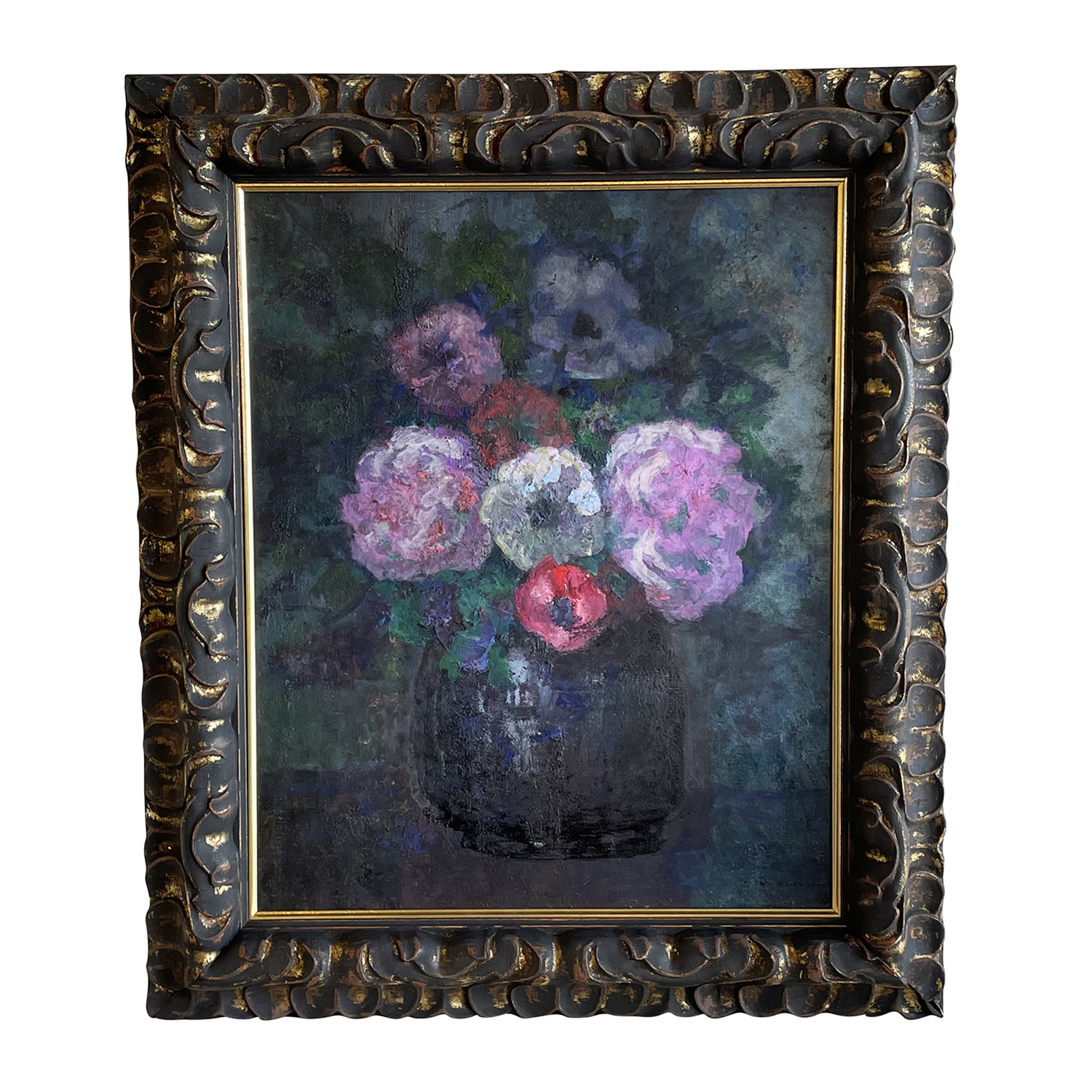 20th Century French Vase of Colorful Flowers Oil Painting by Victor Charreton