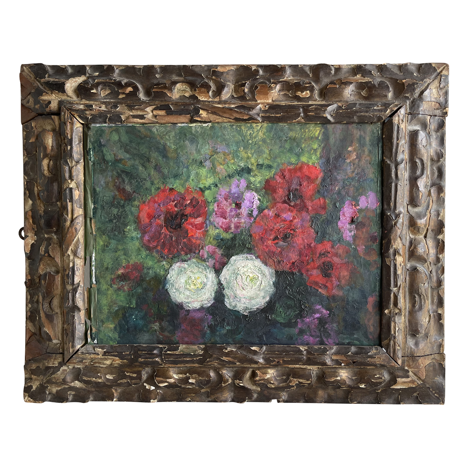 20th Century French Red, Pink & White Flowers Oil Painting by Victor Charreton