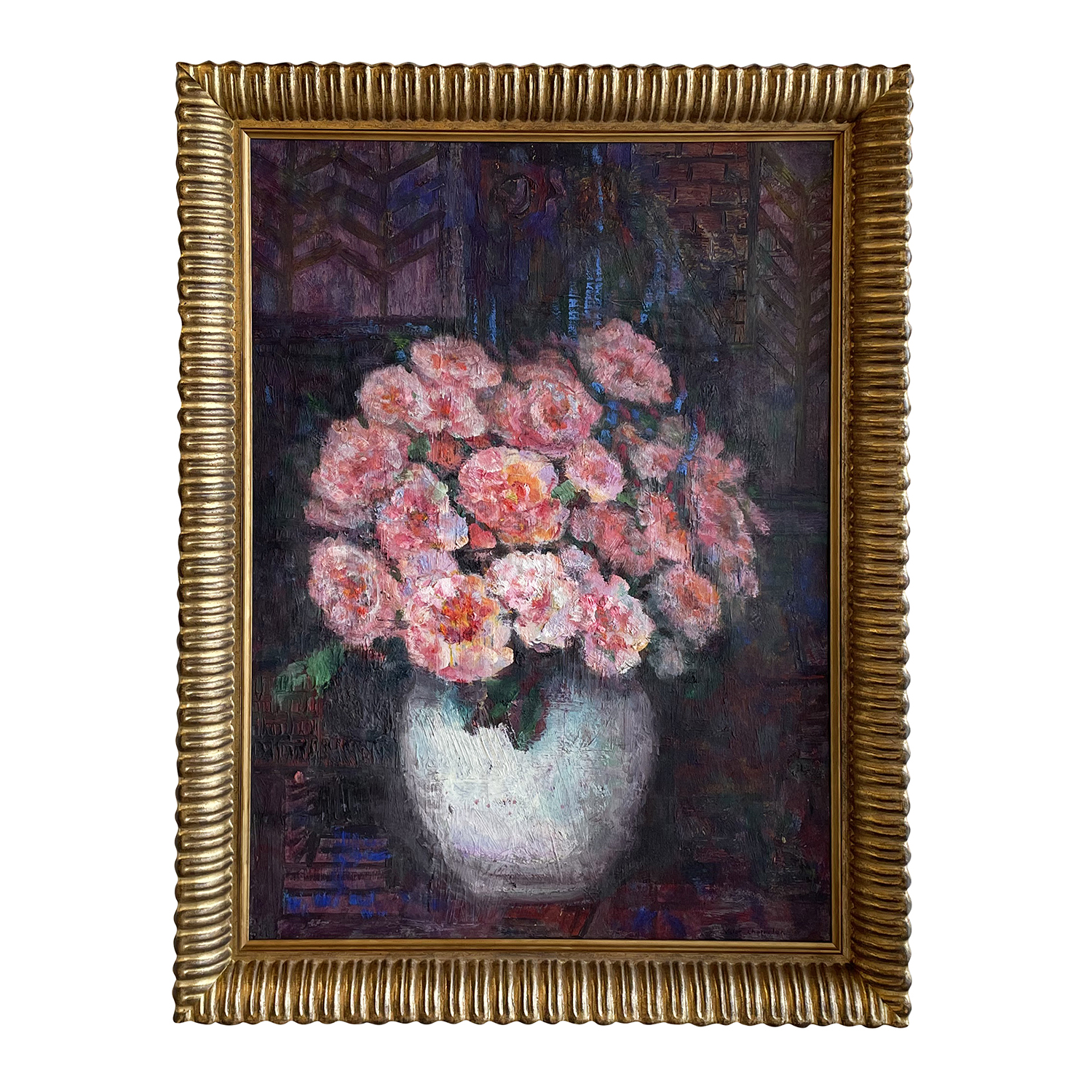 20th Century French Oil Painting of a Vase with Pink Flowers by Victor Charreton