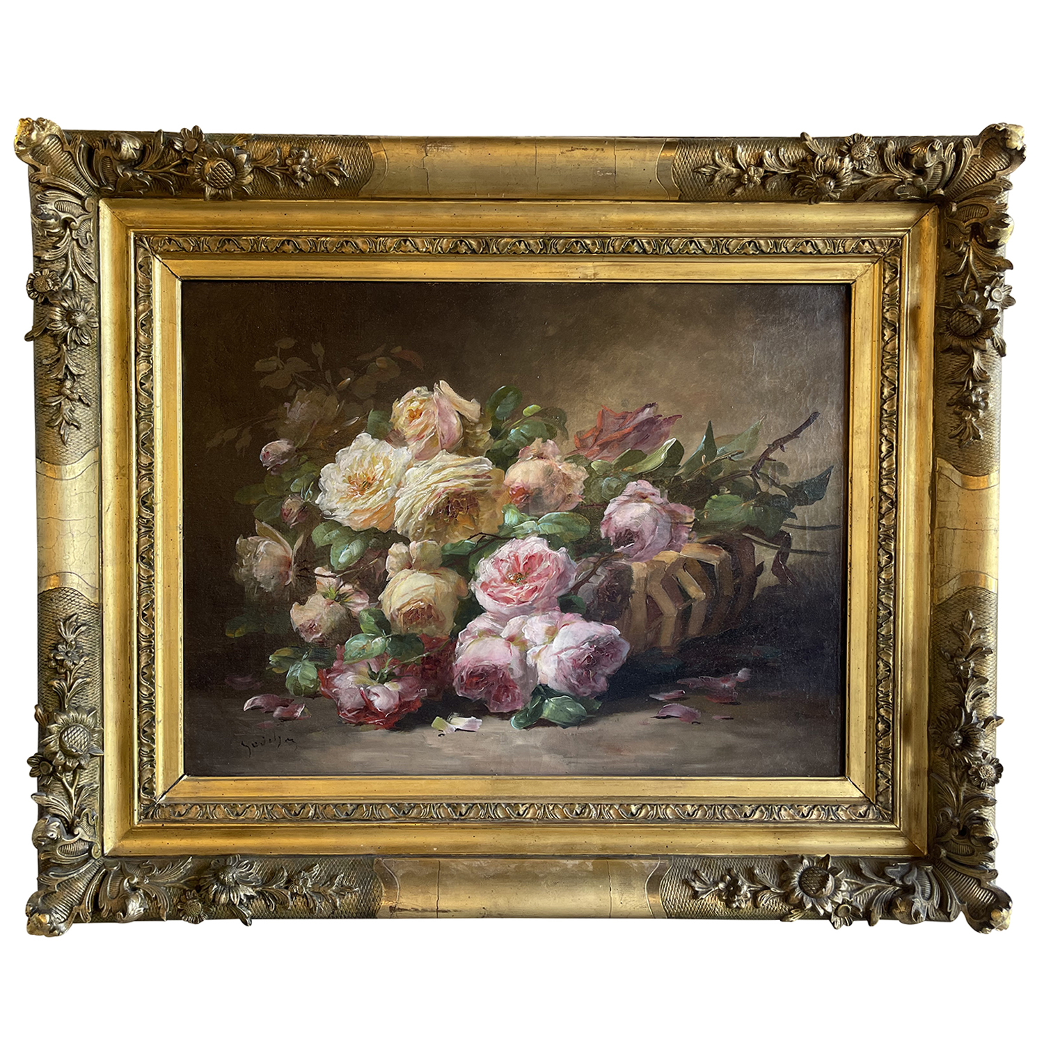 20th Century French Still Life Oil Painting of Colorful Roses by Roger Godchaux
