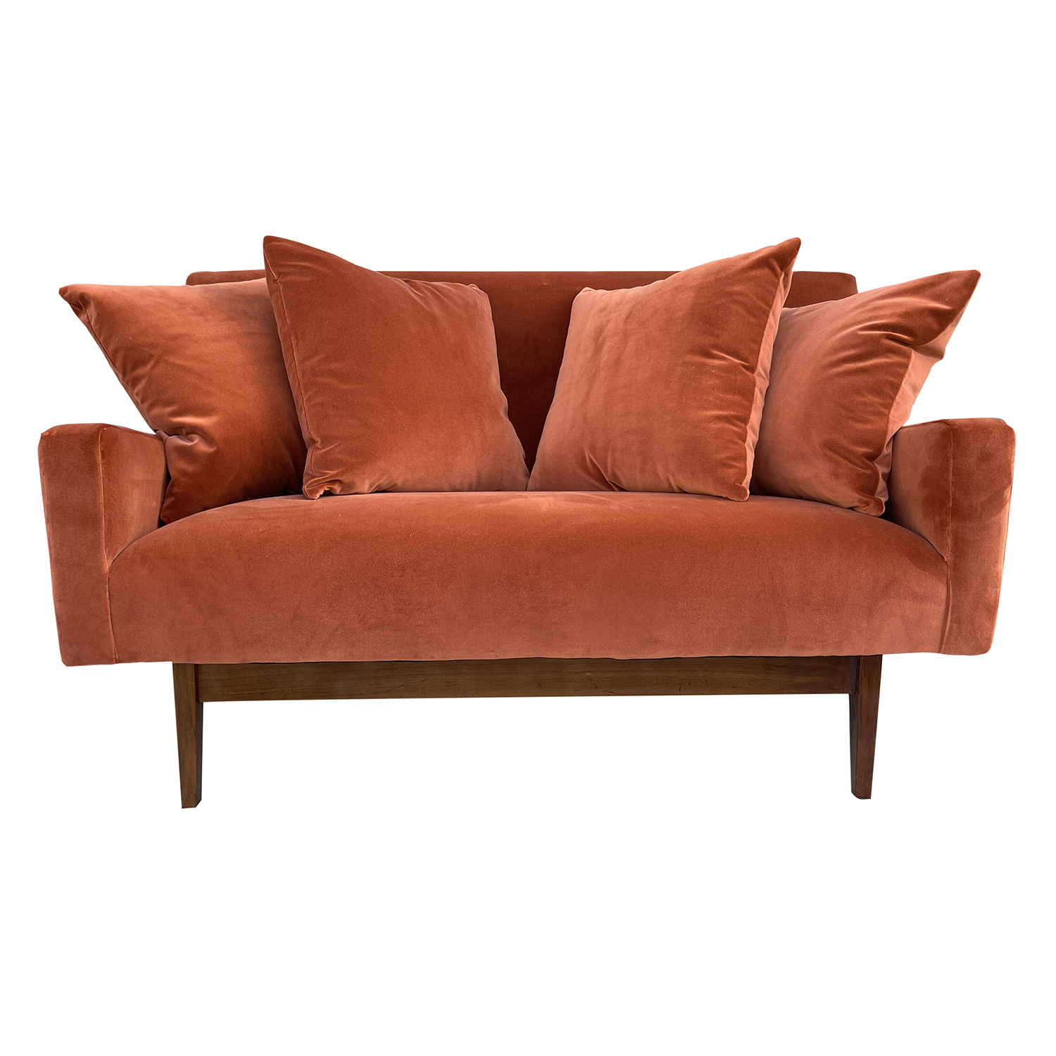 20th Century American Small Two Seater Sofa – Walnut Settee by Jens Risom Design