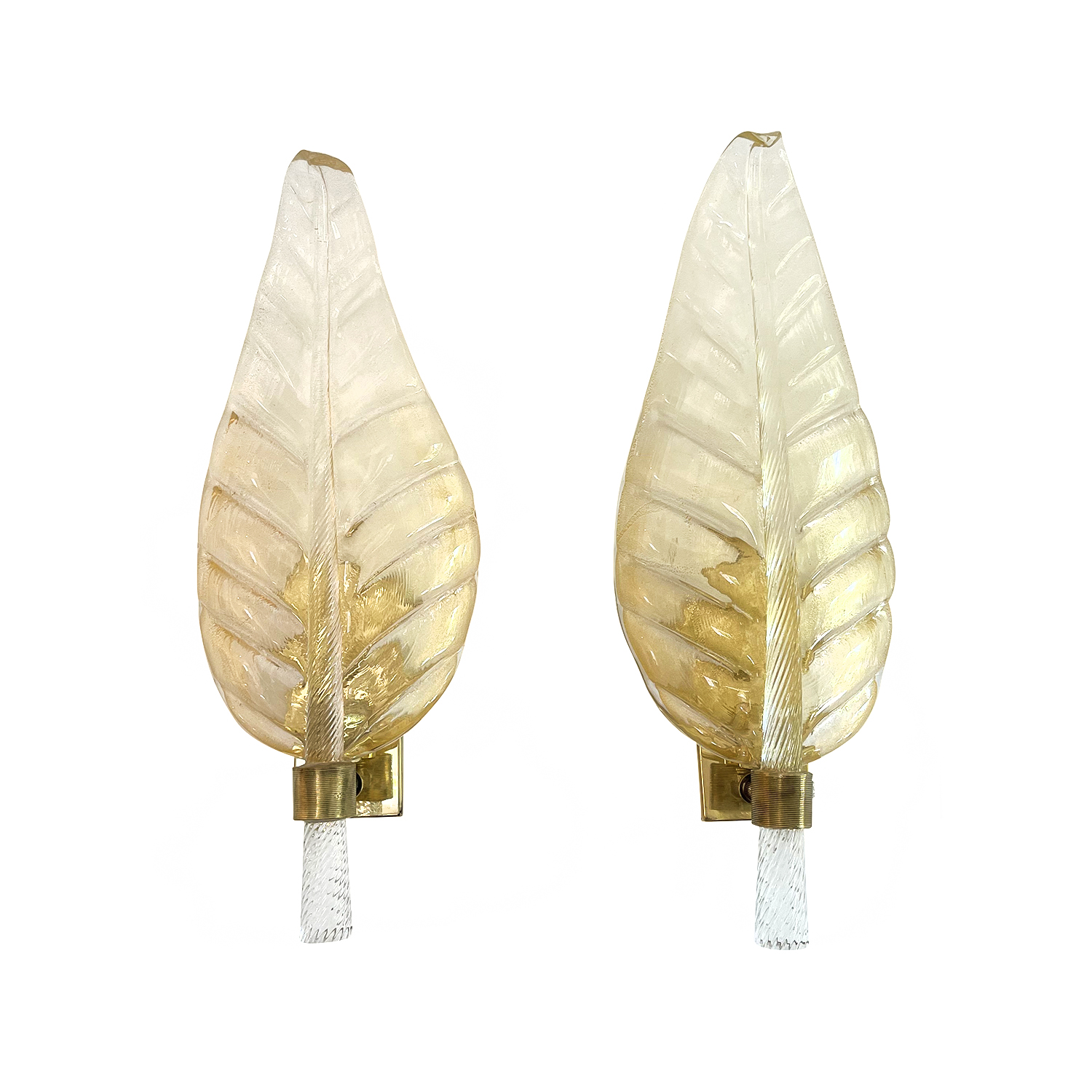20th Century Italian Pair of Murano Glass Oro Sommerso, Brass Leaf Wall Sconces