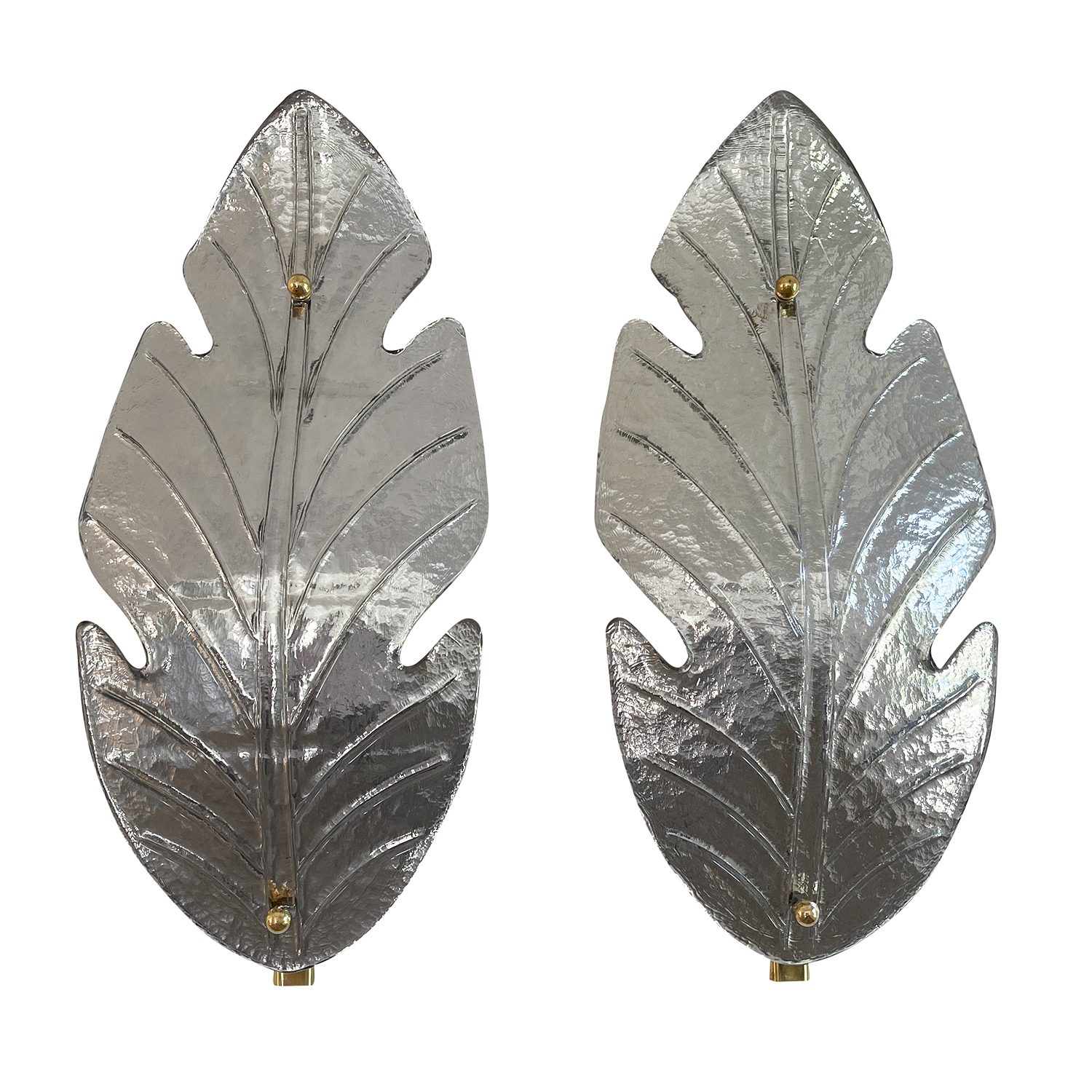 20th Century Italian Silver Pair of Murano Glass Sommerso Leaf Wall Sconces