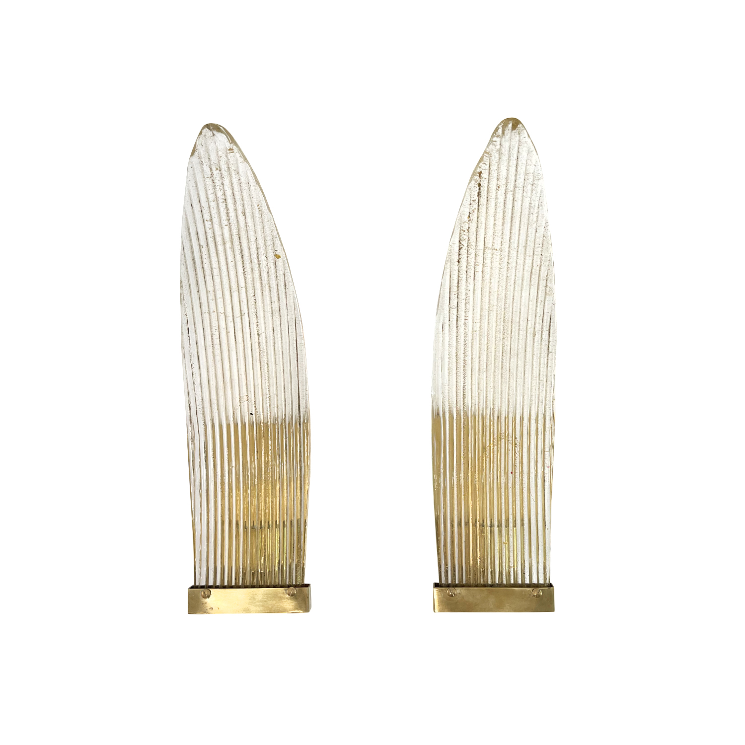 20th Century Italian Pair of Murano Glass Sommerso, Brass Wing Wall Lights