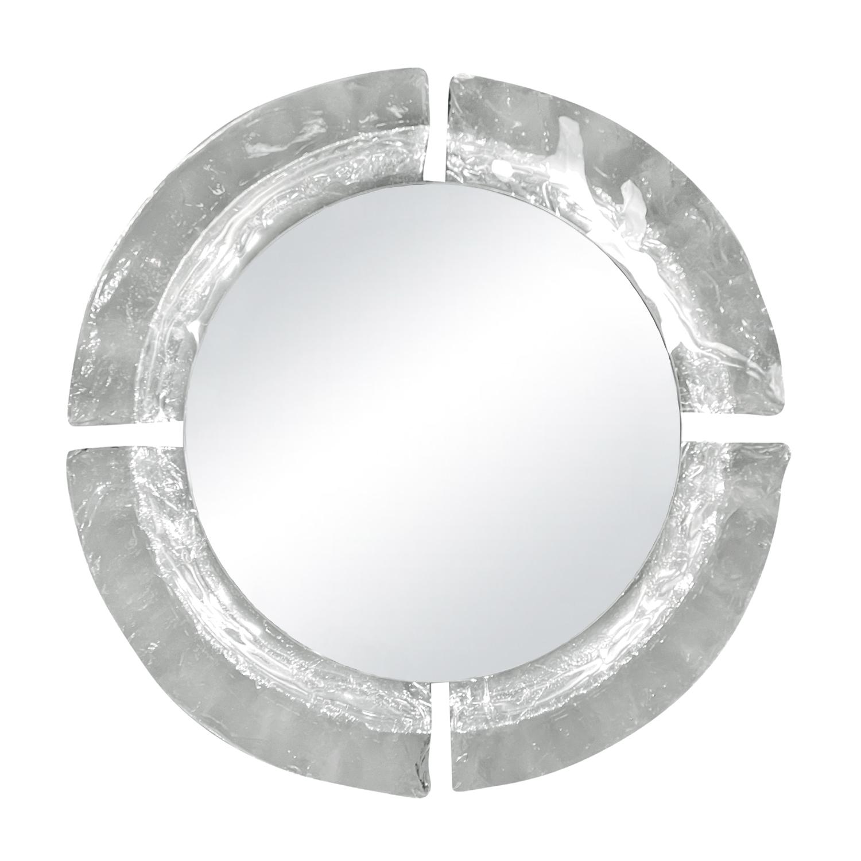 20th Century Italian Illuminated Round Murano Glass Wall Mirror by Mazzega