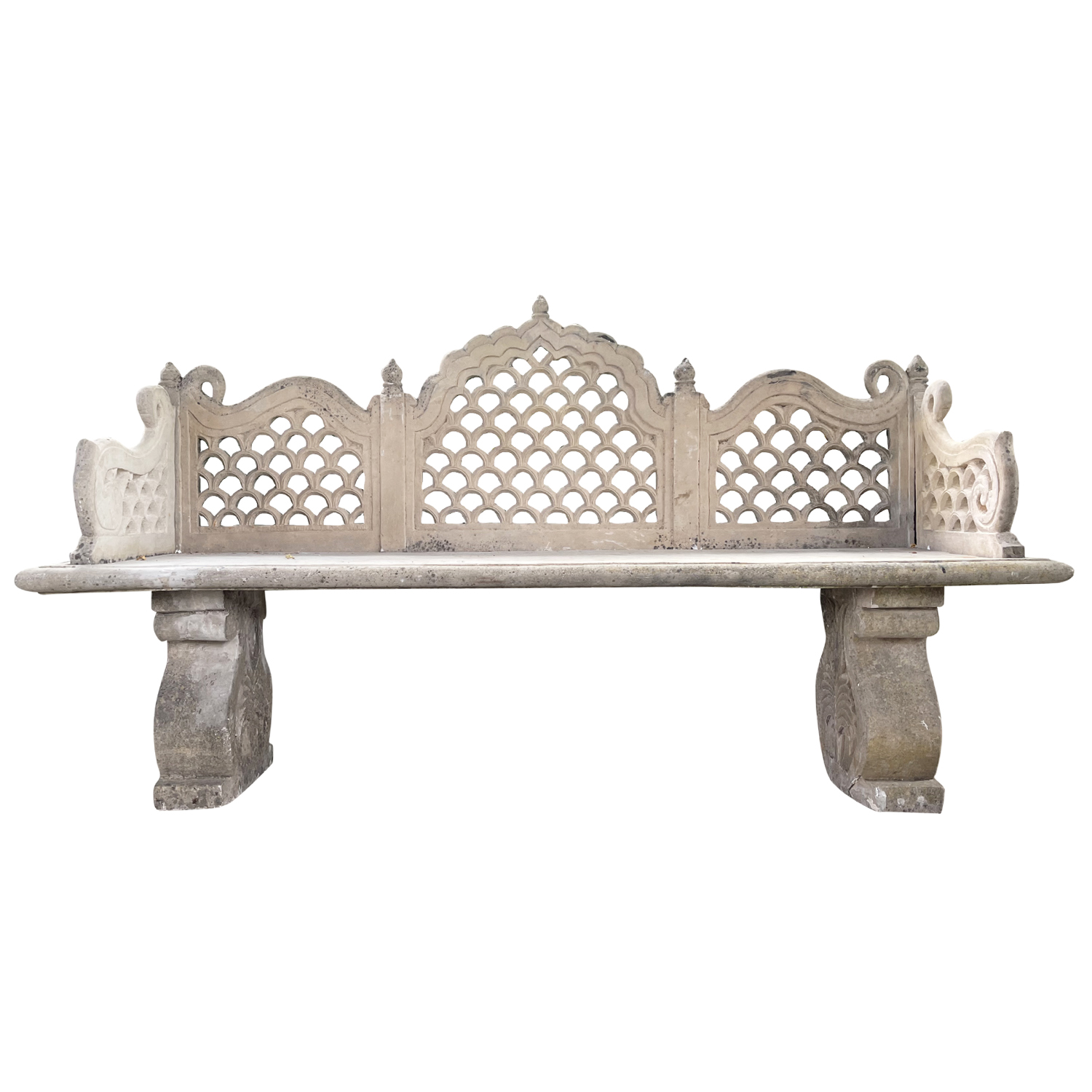 19th Century Pair of White Marble Benches