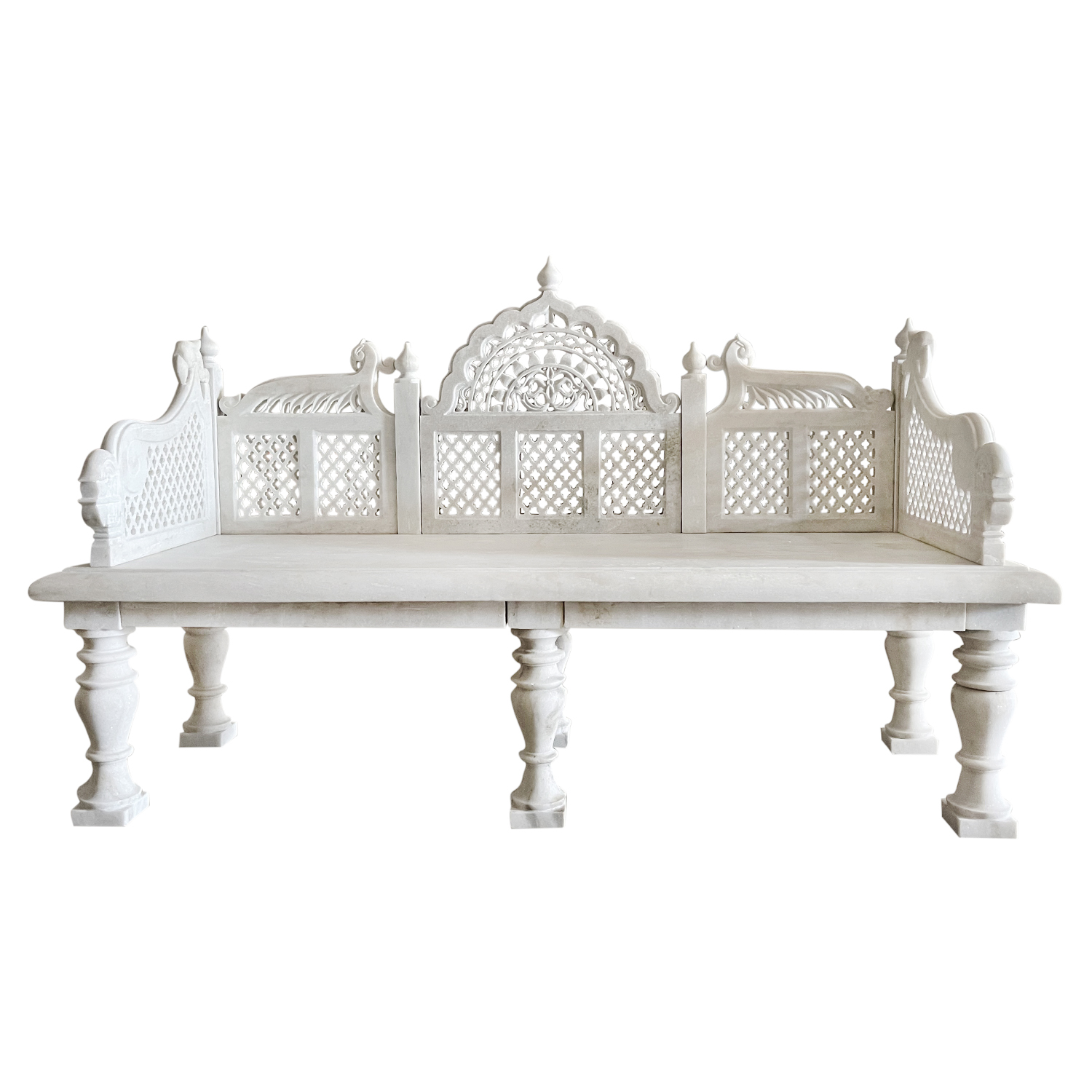 White Mughal Marble Bench