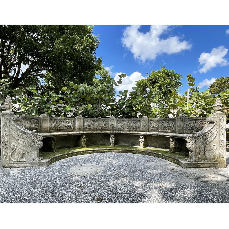 Oversized Italian Lion Garden Bench