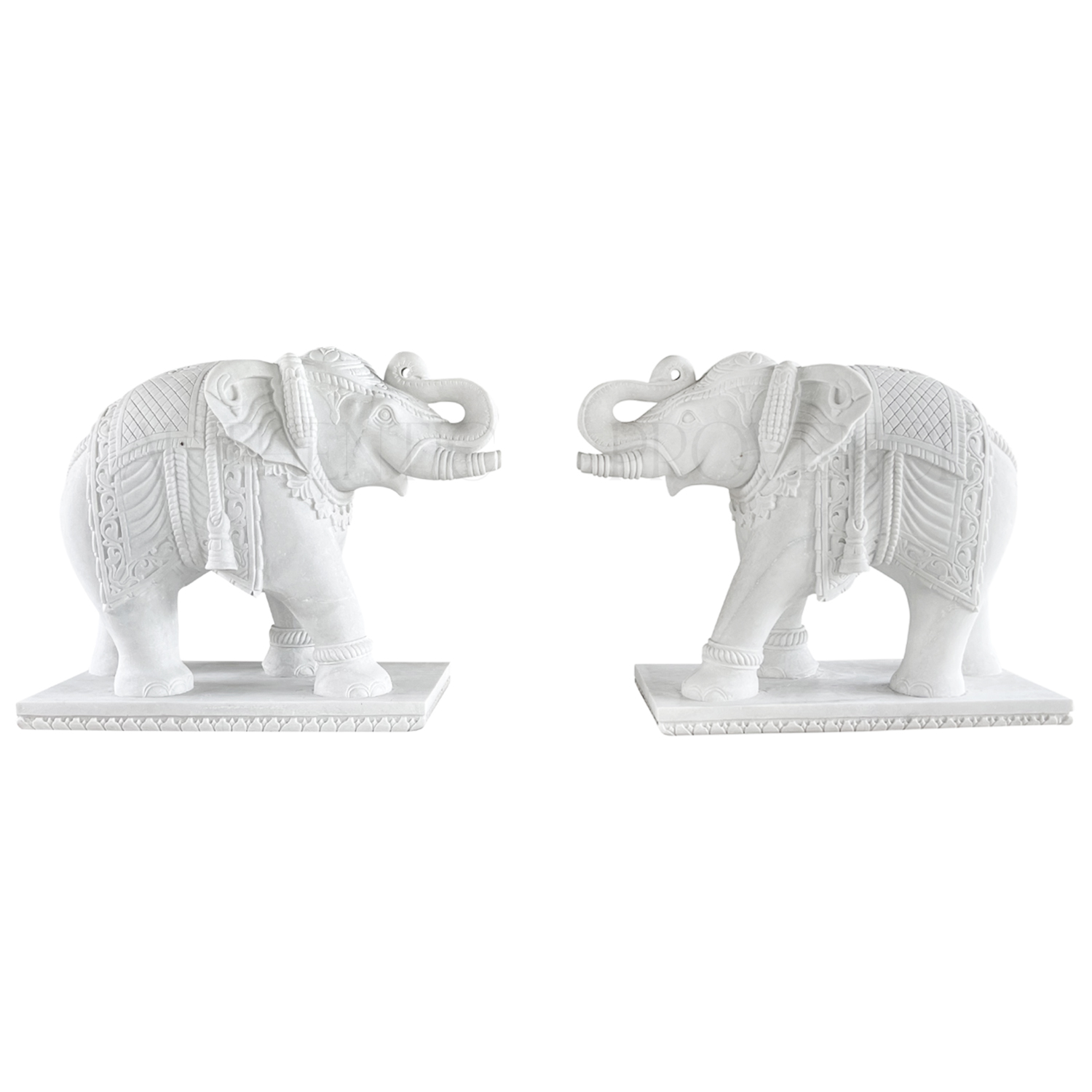 Pair of Indian Elephant Statues in White Marble