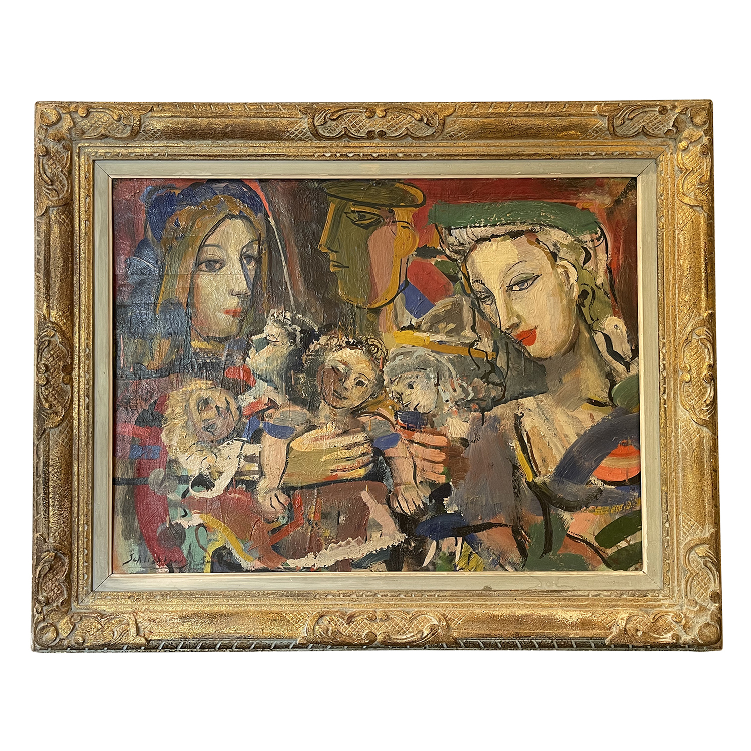 20th Century Russian Oil Painting of Lovers in the Manner of Marc Chagall
