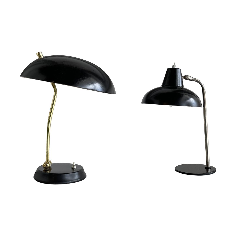 20th Century Black Italian Similar Pair of Metal, Brass Table Lamps
