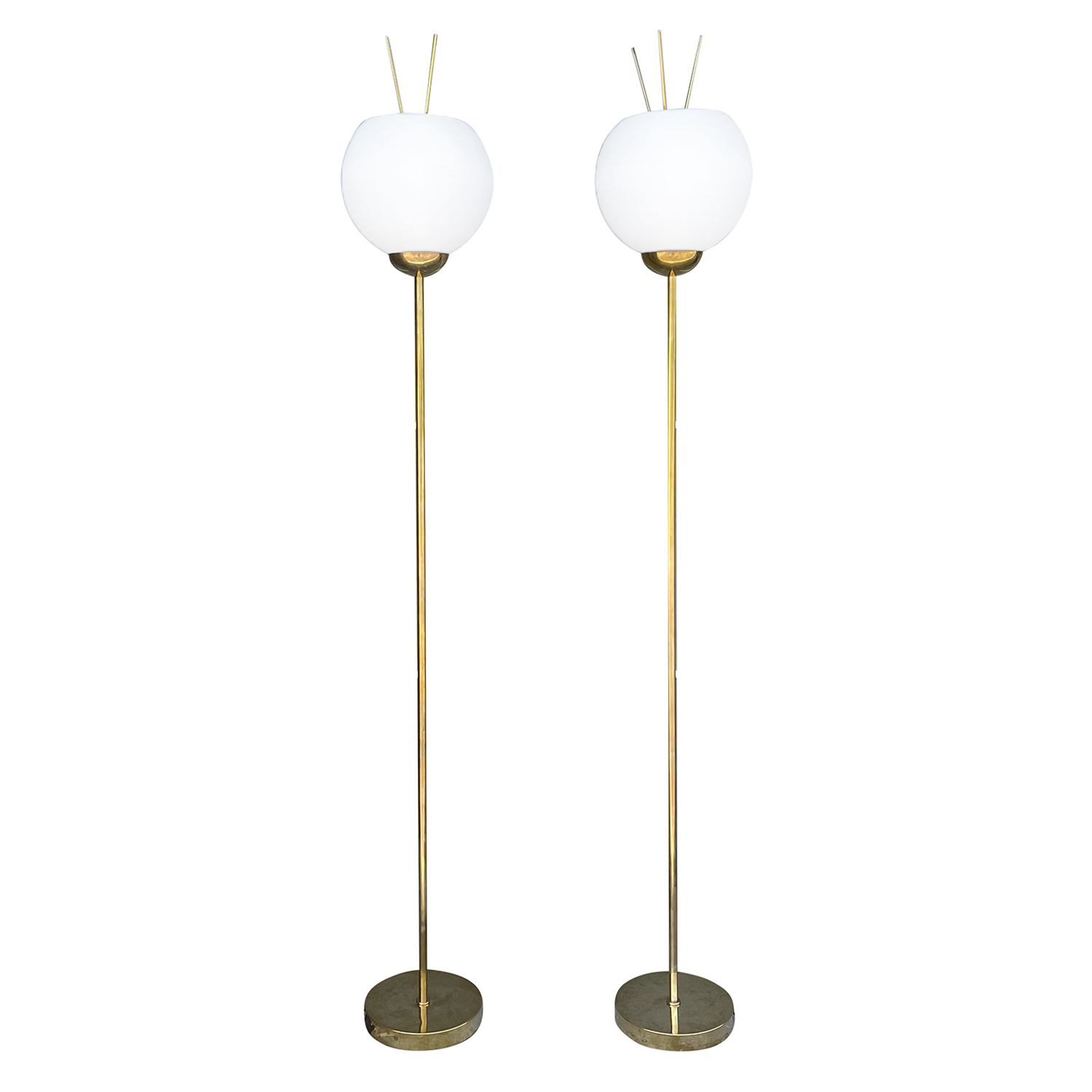 20th Century Gold Italian Pair of Brass, Frosted Opaline Glass Floor Lamps