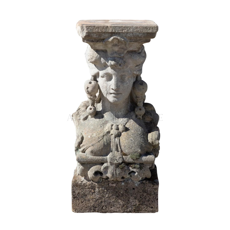 18th Century Dark-Grey German Sandstone Caryatid Statue