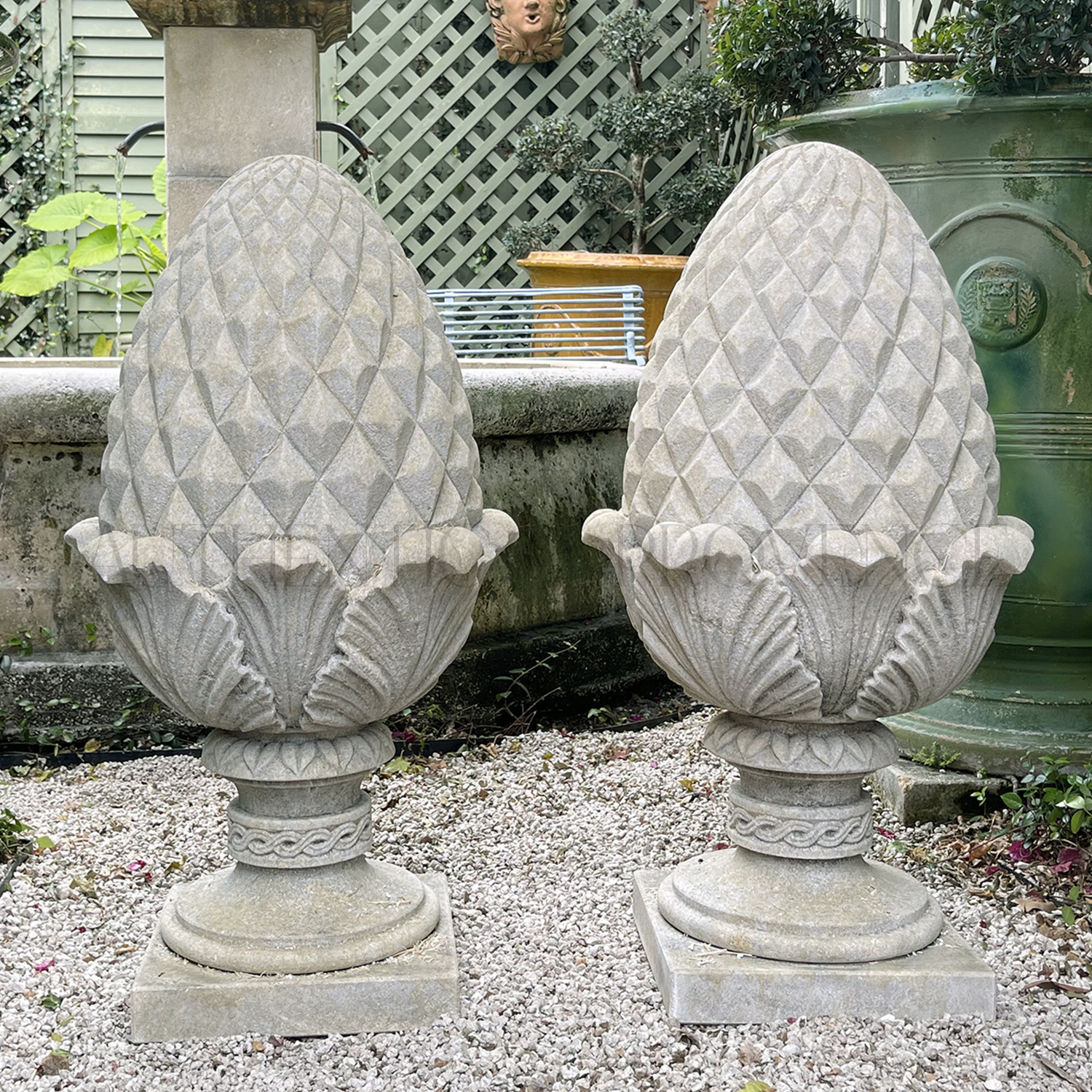 Pair of Large Pine Cone Finials