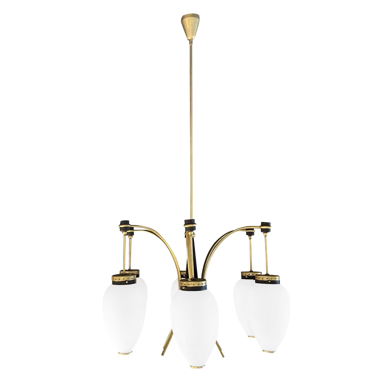 20th Century Italian Round Polished Brass, Opaline Glass Pendant by Stilnovo