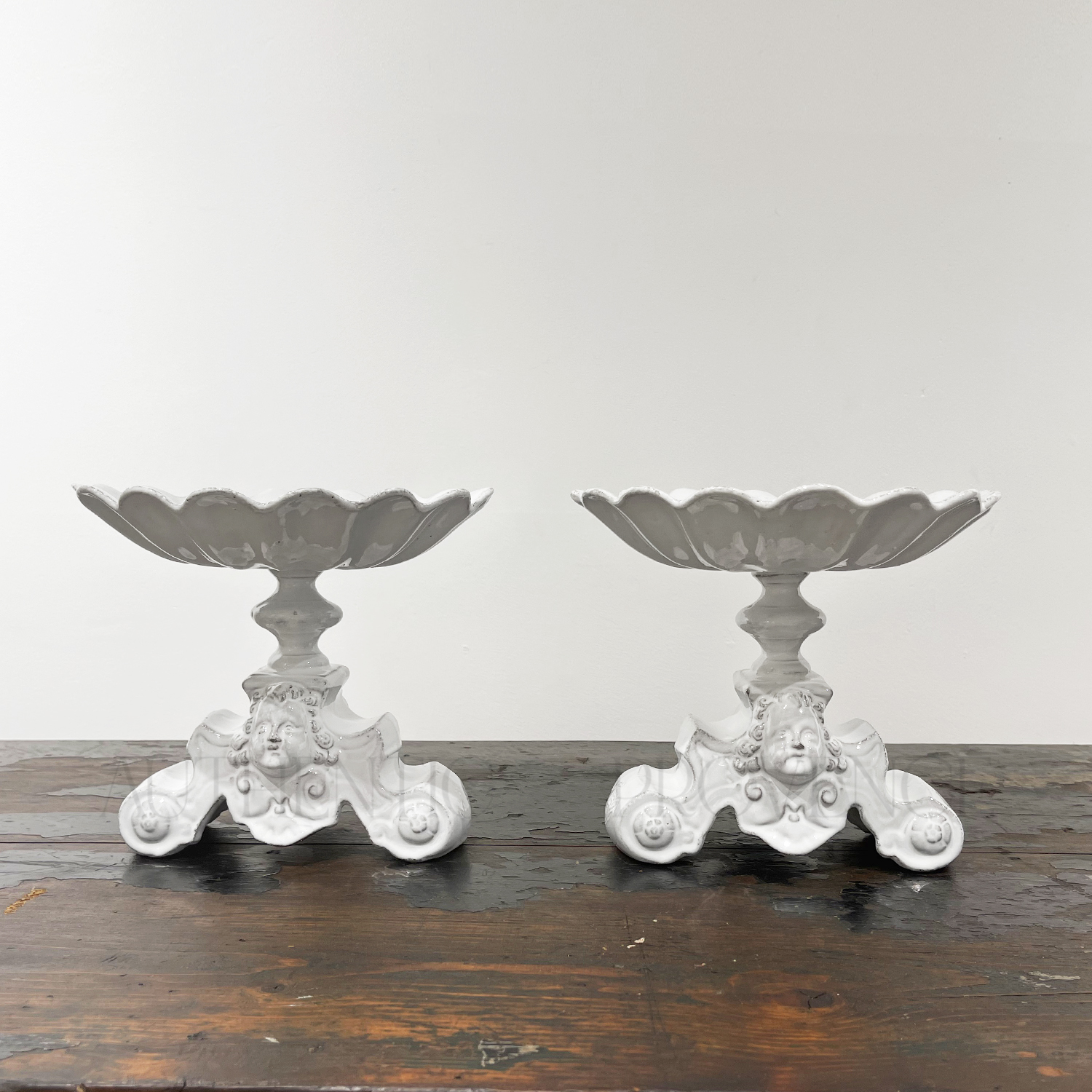 Pair of Raised Dishes Faience Imperatrice