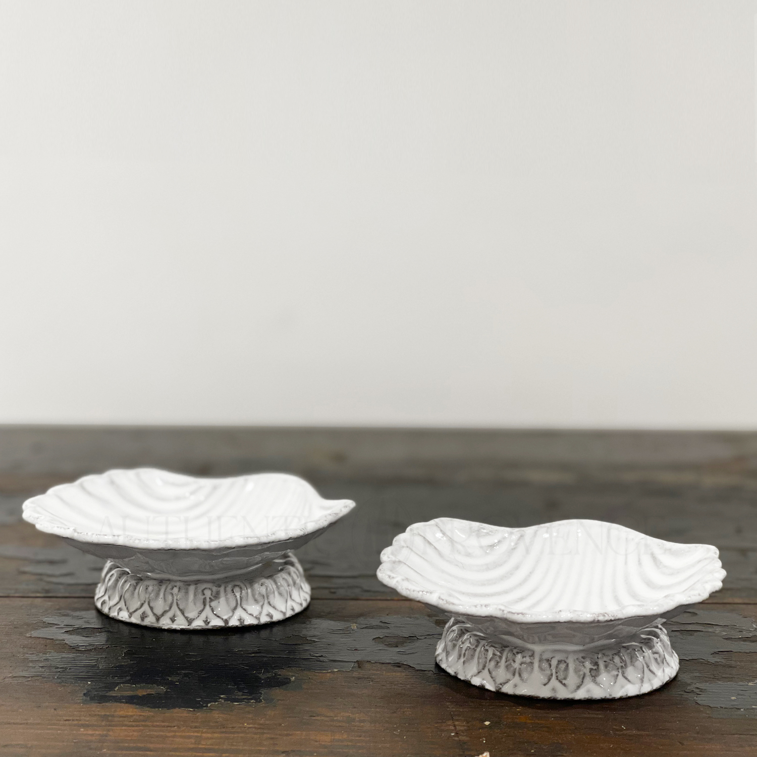 Pair of Faience Shell Dishes Coquille